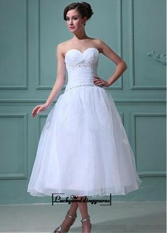 Attractive Organza & Satin A-line Sweetheart Empire Waist Tea Length Wedding Dress