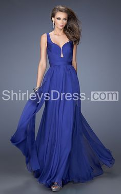Luxurious Sleeveless Long Poly Chiffon Dress with Plunged Neckline and Low Back