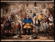 1811.A barber lathering a man's face, other men trying on wigs.Coloured etching by J. Gillray, 1818, after H.W. Bunbury, 1811.