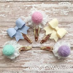 Gift For Girls, Gold Snap Clip, Holiday Hair Bows, Mini Felt Bows, Felt Bows Hair Clip, Gold Hair Clip, Felt Balls Hair Clip, Small Hairbows