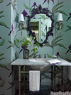 Colorful Bathroom Decorating Ideas - Paint Color Ideas for Bathrooms - House Beautiful, Cole and Son's Wallpaper