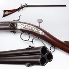 Unique three barrel percussion rifle made by H.V. Perry of Jamestown, New York, mid 19th century. The barrels were hand rotated after each shot.