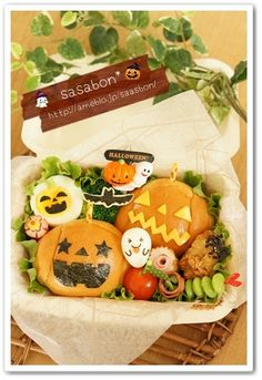 Cute jack o' lantern sandwich Halloween bento box Cute Bento Boxes, Cool Lunch Boxes, Bento Box Lunch, Bento Ideas, Bento Recipes, Lunchbox Ideas, Japanese Lunch Box, Japanese Food, Cute Food