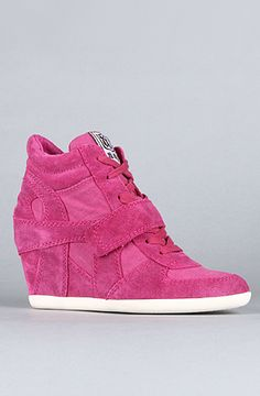Not sure I would actually buy these, but they are super cute!  The Bowie Sneaker in Fuxia Suede and Washed Canvas by Ash Shoes