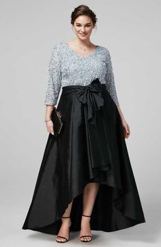 Adrianna Papell Sequin Top & Taffeta Skirt (Plus Size)