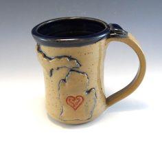 Large Michigan Pottery Mug/Hand Made Love Michigan Heart Mug/Pottery Michigan Mug 16 Ounces by AnneMariesPottery on Etsy