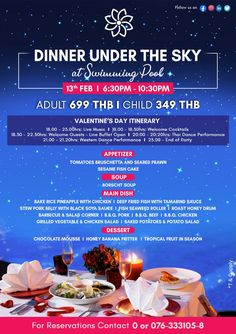 Valentine's Day Romantic Dinner 💞  Join us to celebrate Valentine's Day Romantic Dinner Under The Sky at Chanalai Romantica Resort on February 13, 2020 from 6.30 PM to 10.30 PM.  💏 Dinner Under The Sky at THB 1,399 per couple  For pre-booking please contact us at +66 (0) 76 333 105 or reservations@chanalai.com  #ValentinesDay #HappyValentines #HappyValentinesDay2020 #RomanticDinner #RomanticGetaway #Love #LoveForever #BuffetDinner #Happiness #ChanalaiRomanticaResort #KataBeach #Phuket Romantic Dinners, Romantic Getaway, February 13, Crystal Clear Water, Beach Town, Phuket, Happy Valentines Day, Buffet, Join
