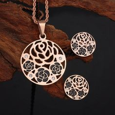 316L Stainless Steel Hollow Flowers Swarovski by UniqueMeDiscovery