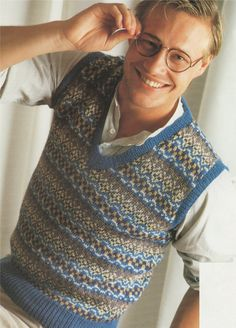 80d771bc8a99 Fair Isle Slipover   Pullover PDF Knitting Pattern   Mens or Womens 36