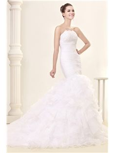 $ 200.99 Amazing Trumpet/Mermaid Slim Sweetheart Court Train Ruffles Fall Sandra's Wedding Dress