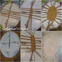 weaving bottom of container Dad Crafts, Diy Home Crafts, Basket Weaving Patterns, Willow Weaving, Wicker Dresser, Paper Weaving, Newspaper Crafts, Paper Basket, Diy Paper