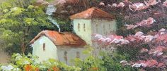 French Wine Vineyard Homes Landscape Art 24x36 Stretched Oil ...