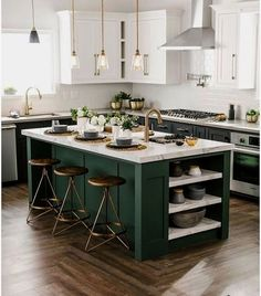 a black and white kitchen with a dark green kitchen island that adds color to the space Green Kitchen Island, Dark Green Kitchen, Green Kitchen Cabinets, Painting Kitchen Cabinets, White Cabinets, Kitchen White, Kitchen Islands, Kitchen Sink, Floors Kitchen