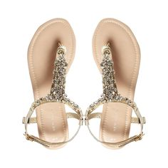 Brides.com: 34 Fashionable Wedding Flats . Fossil gold bling thong flat sandals, $34.28, New Look available at ASOS