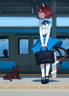 ✮ ANIME ART ✮ anime. . .neko. . .cat girl. . .cat ears. . .cat tail. . .cat. . .subway. . .cute. . .kawaii