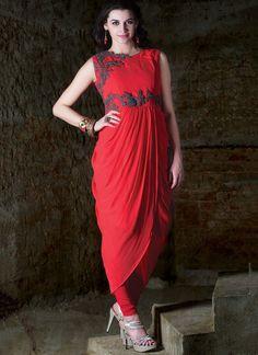 Red #Georgette #Kurti