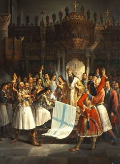 March celebrating the Annunciation and the War of Independence Cry Freedom, Greek Independence, Fall Of Constantinople, Greece History, Greek Paintings, Greek Warrior, The Son Of Man, Greek Art, Eastern Europe