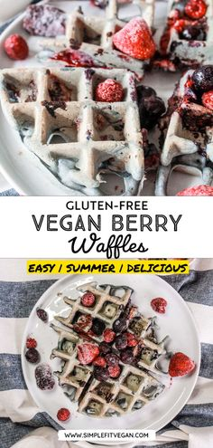 Never go hungry! Make this easy and healthy Gluten-Free Vegan Berry Waffles recipe for breakfast. It's delicious and kid-approved! #waffles #plantbased #plantbasedbreakfast Low Carb Vegan Breakfast, Breakfast Recipes, Vegan Dinner Recipes, Vegan Meals, Vegetarian Recipes, Vegan Gluten Free, Gluten Free Waffles, Gluten Free Baking, Plant Based Breakfast