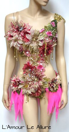 Golden Spring Forest Fairy Goddess Cosplay Dance Costume Rave Bra Halloween from L'Amour Le Allure - dradurn. Rave Costumes, Burlesque Costumes, Rave Bra, Flower Costume, Carnival Outfits, Goddess Costume, Fairy Dress, Rave Outfits, Trendy Dresses