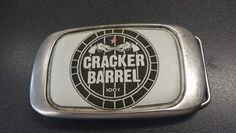 -- Cracker Barrel Belt Buckle -- Custom Buckle with White-Leather-Inlay Belt Buckles, White Leather, Barrel, Barrel Roll, Seat Belt Buckle, Barrels, Belt Buckle, Crates