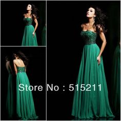 Wholesale Evening Dresses - Buy Elegant Beading Sweetheart Backless Emerald Green Chiffon Long Evening Dresses Prom Party Gowns 2014, $148.99   DHgate