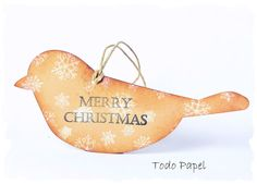 Merry Christmas bird gift tags by TodoPapel on Etsy, $9.30