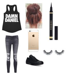 """Lazy Days "" by allerinavang1818 ❤ liked on Polyvore featuring J Brand, Converse and Yves Saint Laurent"