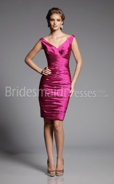 Fuchsia Stretch Satin Sheath/Column Off The Shoulder Knee-length With Ruched Bridesmaid Dresses(UKBD03-580)