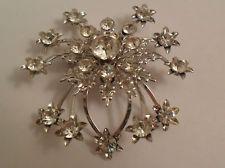 Vintage 1950s Sparkling Rhinestone Brooch Pin Starburst Design