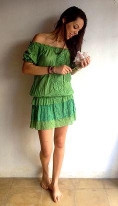 Vestido verde fluor algodón 100%.