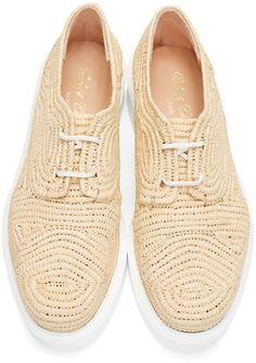 Robert Clergerie Chaussures en paille tissée brun clair Paga Brun Clair,  Derbys, Des Vêtements 310d77b9db58