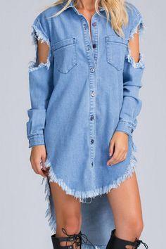 8466bb9d16 NYC Style Denim Mini Dress Denim Shirt Dress