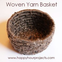Instead of buying a generic basket, make your own beautifully woven yarn basket.  Time: 3-5 hours  Supplies:  Yarn – I didn't use anywhere near a whole skein on either small basket     Clothesline, Cord, or Rope     Large, blunt needle     Scissors  Read more here: http://happyhourprojects.com/woven-yarn-basket/