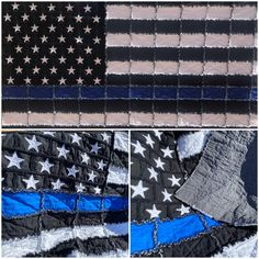 Thin Blue Line rag quilt with cotton front and back and flannel in the middle. Show your love of law enforcement and those that serve with this throw quilt. x Law enforcement gift - police officer - police gift - thin blue line Thin Blue Line Wallpaper, Lines Wallpaper, Thin Blue Line Patch, Thin Blue Lines, Flag Quilt, Patch Quilt, Police Gifts, Dog Quilts, Quilt As You Go