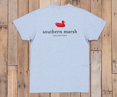 Southern Marsh Heather Collection Authentic Pocket Tee in Sky Blue Heather AUT-SKYBLUE