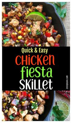 This quick and easy one-pan chicken fiesta skillet can be on the table in just 30 minutes. It's a healthy and satisfying meal, perfect for busy weeknights. You can easily pair it with yummy sides like rice and refried beans, or even a fresh salad. Yummy Chicken Recipes, Yum Yum Chicken, Healthy Recipes, Spicy Recipes, Healthy Chicken, Turkey Recipes, Pork Recipes, Delicious Recipes, Crockpot Recipes