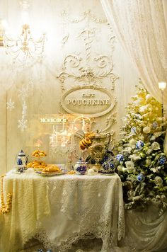 Café Pouchkine in Provence-Opéra, Paris (in Printemps department store, first floor; here a display). This is the Paris patesserie version/branch of the fabulous Cafe Pushkin in Moscow.
