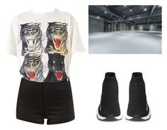 """""""Untitled #55"""" by jongkooki ❤ liked on Polyvore featuring River Island, Gucci and Balenciaga"""
