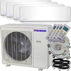 Pioneer Air Conditioner Inverter++ Ductless Wall Mount Multi Split System Air Conditioner & Heat Pump Full Set, Quad (4) Zone