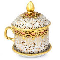 Porcelain Ceramics, China Porcelain, Tea Cup With Lid, Pink Tea Cups, Teapots And Cups, Teacups, Chocolate Cups, Gold Flowers, Tea Cup Saucer