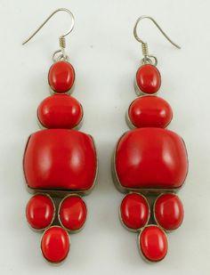 Southwestern Red Coral Sterling Silver Drop Dangle Earrings