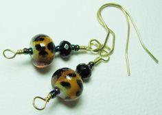 CLEARANCE Sale Earrings Tortoise Shell Lampwork by BohemianIce