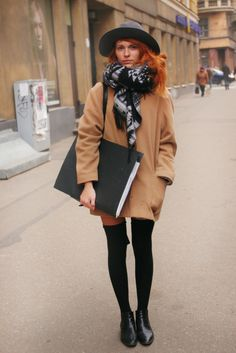 camel cocoon coat, thigh high socks, awesome hair colour