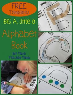 Boy Mama Teacher Mama Big A Little A Alphabet Book . Great fine motor activity as they attach objects to the letter shape. Kindergarten Literacy, Preschool Learning, Fun Learning, Early Literacy, Teaching Reading, Teaching Letters, Preschool Letters, Kids Letters, Alphabet Activities