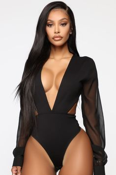 Jolie Lingerie, Women Lingerie, Lace Bodysuit, Long Sleeve Bodysuit, Leather Bodysuit, Black Girl Fashion, Look Fashion, Womens Fashion, Korean Fashion