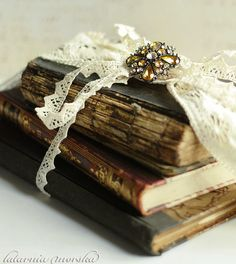 Antique Lace Wrapped Antique Books