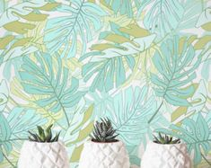 Monstera Palm leaf Wallpaper abnehmbare Tapete von Jumanjii auf Etsy