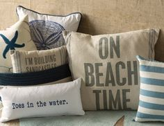 I pinned this from the Ocean Inspirations - Add Beach-Chic Style with Plush Pillows, Rugs More event at Joss and Main! Beach Cottage Style, Beach House Decor, Coastal Style, Futons, Dream Beach Houses, Beach Room, Beach Porch, Am Meer, Coastal Homes
