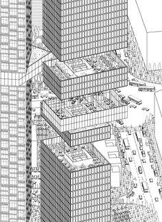 axonometric high rise: skyscraper