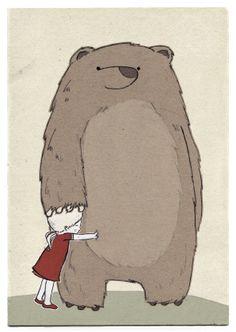 Postkarte Bärenmädchen von Martina_Hoffmann // postcard bear-girl by Martina_Hoffmann via dawanda.com